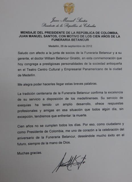 CARTA DEL SEÑOR PRESIDENTE DE COLOMBIA